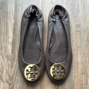 Tory Burch Minnie Flat Brown and Gold